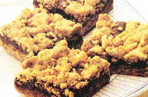 Chocolate-Filled Walnut-Oatmeal Bars