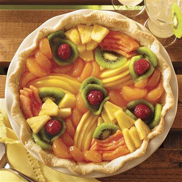 Pastel de Queso Crema y Frutas Tropicales