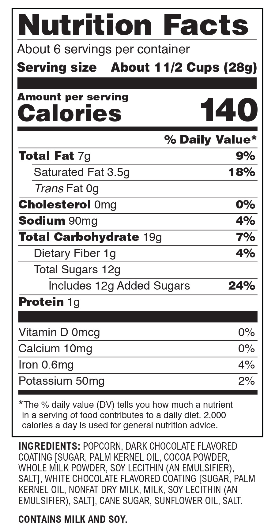 nutritional chart