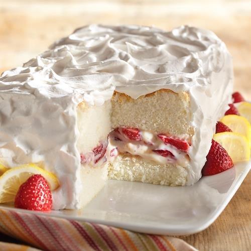 Torta de Ángel de Limón y Fresa