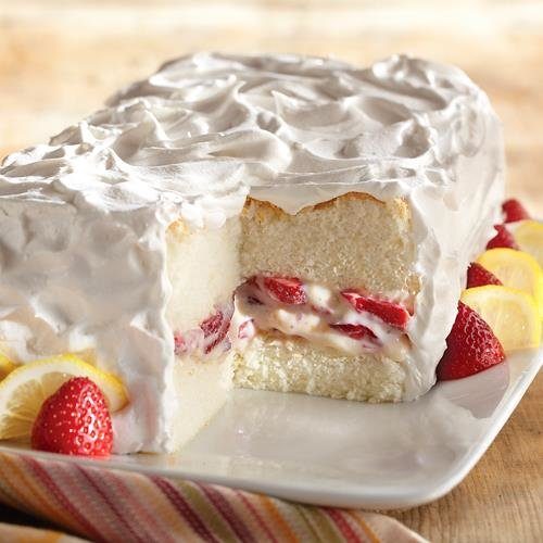 Strawberry-Lemon Angel Food Cake