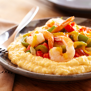 Cheesy Grits with Shrimp and Bacon