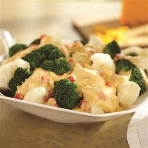 Broccoli with Sweet Pepper Cheddar Sauce