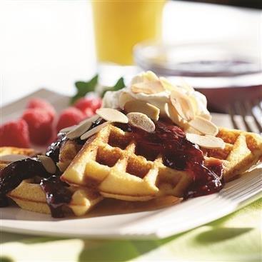 Raspberry Almond Waffles