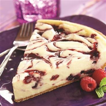 Pastel de Cheesecake Marmolado de Frambuesa