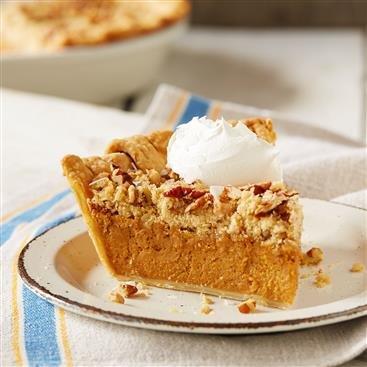 Salted Caramel Streusel Pumpkin Pie