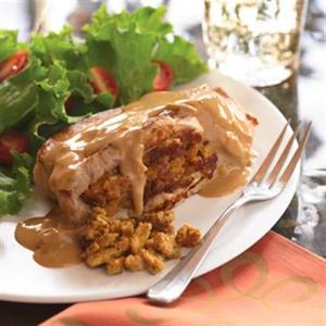 Stuffed Pork Chops with Browned Onion Gravy